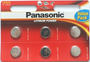 Pack of 6 Panasonic CR2032 Lithium 3 Volt Batteries