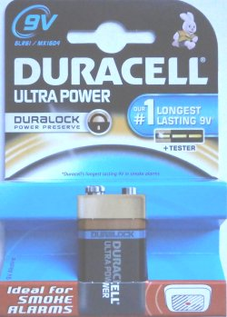 Duracell Ultra 9 Volt PP3 (MN1604) Duralock Battery