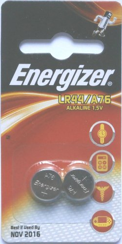 2 Pack Energizer A76/LR44 Batteries