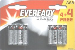Eveready Silver AAA 4 + 4 Free Batteries