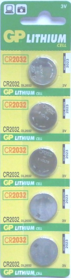 GP CR2032 3 VOLT LITHIUM BATTERIES PACK OF 5