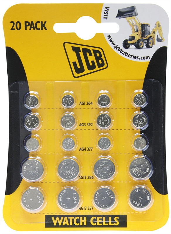 Multipack Watch Batteries by JCB 4 of each AG1 AG3 AG4 AG12 AG13