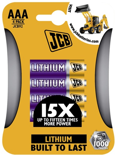 JCB AAA 1.5 Volt Lithium Batteries 4 Pack