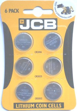JCB Coin Cell Multipack Contains 2 of CR2032, CR2025 And CR2016